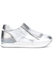 Hogan Fringed Trainers Women Leather Patent Leather Rubber 35 Metallic