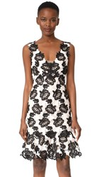 Monique Lhuillier Sleeveless Flounce Dress Silk White Noir