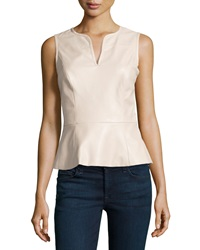Vakko Faux Leather Split Neck Top Nude