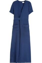 Frame Denim Le Wrap Silk Charmeuse Maxi Dress Storm Blue
