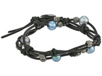 Chan Luu 12 Pearl Double Strand Leather Bracelet Peacock Blue Black Bracelet