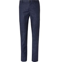 Etro Blue Slim Fit Damask Printed Stretch Cotton Suit Trousers Blue