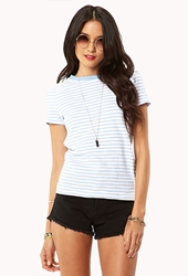 Forever 21 Essential Striped Tee White Sky Blue
