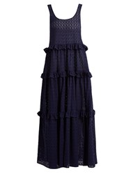 Lisa Marie Fernandez Ruffle Tiered Broderie Anglaise Cotton Maxi Dress Navy
