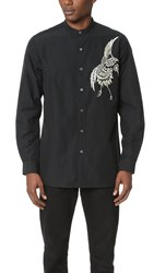 Ports 1961 Mandarin Collar Shirt Black