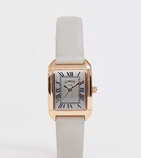 Limit Faux Leather Watch In Grey With Rectangular Dial