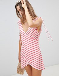 Asos Design Stripe Wrap Jersey Beach Cover Up Multi