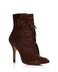 Pour La Victoire Onyx Lace Up High Heel Booties Raisin