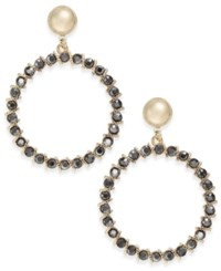 Inc International Concepts Gold Tone Glass Stone Gypsy Hoop Earrings Created For Macy's