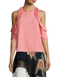 Delfi Collective Everly Pleated Cold Shoulder Top Blush