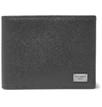 Dolce And Gabbana Pebble Grain Leather Billfold Wallet Gray