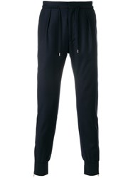 Paul Smith Drawstring Fastening Track Pants Cashmere Wool Blue