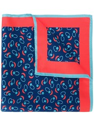 Kiton Printed Pocket Square Blue