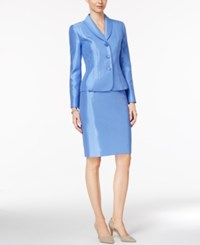 Le Suit Shawl Collar Shimmer Skirt Blue Bell
