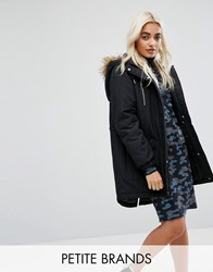 Noisy May Petite Parka Jacket With Faux Fur Trim Hood Black