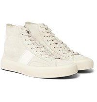 Tom Ford Cambridge Leather Trimmed Suede High Top Sneakers Off White