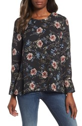 Everleigh Pleat Back Blouse Black Blooming Floral