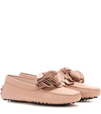 Tod's Embellished Leather Loafers Pink