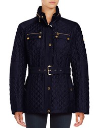 Michael Michael Kors Missy Snap Front Quilted Jacket Navy