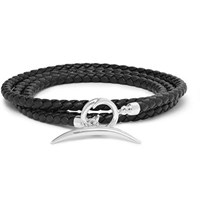 Shaun Leane Quill Woven Leather And Silver Wrap Bracelet Black