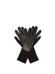 Burberry Cashmere And Leather Gloves Black