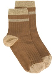 Twin Set Ribbed Lurex Stripe Socks Nude And Neutrals
