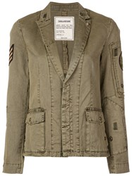 Zadig And Voltaire Military Blazer Green