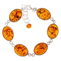 Be Jewelled Sterling Silver Oval Amber Chain Bracelet Cognac
