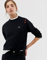 Fred Perry X Amy Winehouse Foundation Embroidered Sweatshirt Black