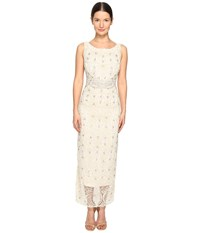 Marchesa Crystal And Pearl Column Gown W Belt Ivory Women's Dress White