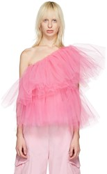 Molly Goddard Pink Tulle One Shoulder Angela Top