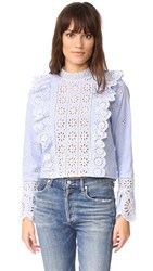 Sea Exploded Eyelet Ruffle Top Stripe