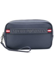 Emporio Armani Logo Embossed Wash Bag Blue