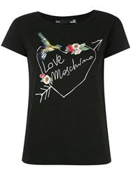Love Moschino Embroidered T Shirt Women Cotton Spandex Elastane 42 Black