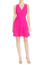 Women's Adelyn Rae Asymmetrical Ruffle Fit And Flare Dress Hot Pink