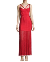 Herve Leger Sleeveless Bandage Gown W Chiffon Skirt Red