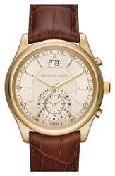 Michael Michael Kors 'Aiden' Chronograph Leather Strap Watch 43Mm Brown Gold