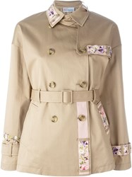 Red Valentino Floral Embroidery Trench Coat Nude And Neutrals