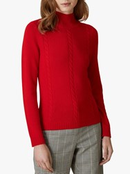 Jaeger Cable Knit Wool Jumper Red