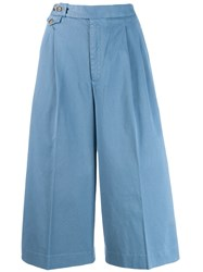 Polo Ralph Lauren Cropped Wide Leg Trousers Blue