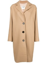 Semicouture Buttoned Loose Coat Nude And Neutrals