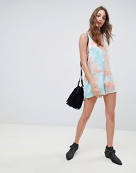Kiss The Sky Tie Dye Festival Playsuit Blue Orange Multi