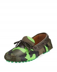 Valentino Camouflage Canvas And Leather Loafers Green