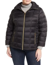 Michael Michael Kors Packable Hooded Puffer Jacket Black