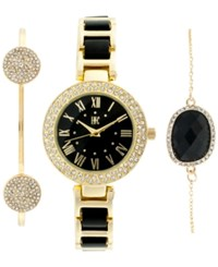 Inc International Concepts Women's Gold Tone And Black Acrylic Bracelet Watch And Bracelets Set 30Mm Only At Macy's