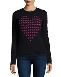 Neiman Marcus Cashmere Heart Shaped Star Intarsia Sweater Black