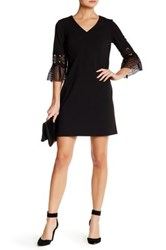 Julia Jordan V Neck 3 4 Lace Sleeve Shift Dress Black