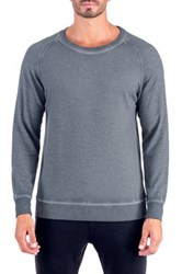 Unsimply Stitched Dirty Washed French Terry Relaxed Neck Crew Sweater Gray