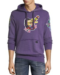 Prps Money Embroidered Distressed Hoodie Purple