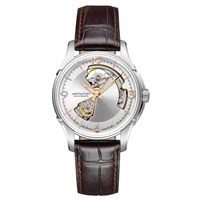 Hamilton H32565555 'S Jazzmaster Open Heart Automatic Skeleton Leather Strap Watch Brown Silver